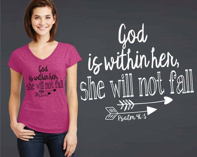 God Is Within Her She Will Not Fall | Psalm 46:5 | Graduation Gift | Christian Gift | Friend Gift | Daughter Gift | Korena Loves