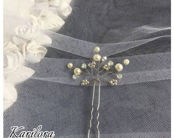 Bridal Vine Hair Pin, Wedding Hair Accessories, Silver and Ivory Hair Pins, Wedding, Bridesmaids, Prom, Party Headpiece