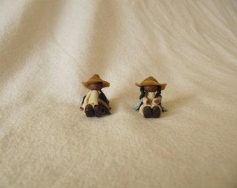 Vintage Miniature Southwest Figurine Boy Girl Polymer Clay