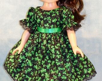 14 Inch Doll Clothes - Shamrocks on Black St. Patrick's Day Dress handmade by Jane Ellen
