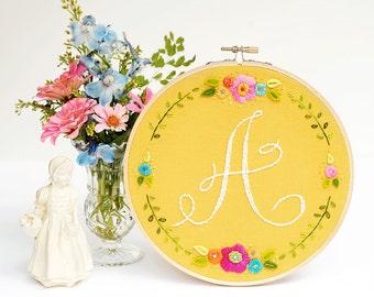 Monogram Embroidery Hoop, Custom Monogram, Nursery Wall Art, Embroidered Initial, Housewarming Gift, Home Decor, Embroidery Hoop Art, Floral