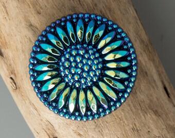 18mmmm Iris Metallic Blue Sunburst Flower Czech Glass Shank Button, 4011, 18mm CzechMetallic Blue Glass Button - Metal Shank Button