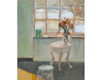 "Original Oil painting grey painting green gray interior alla prima medium square 9"" X 12""  oil on panel  Free shipping"