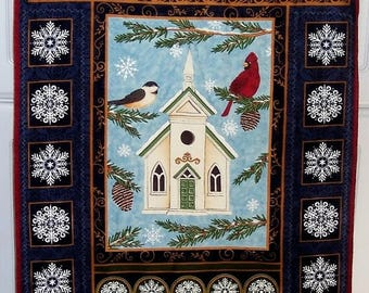 ON SALE Church Among the Snowflakes Wall Hanging