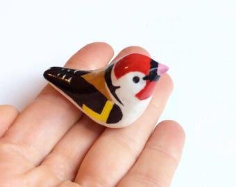 Goldfinch bird ornament. Hand painted. Bird figurine. Bird totem