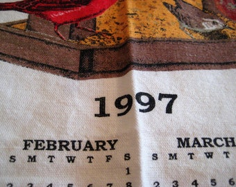 1997 kitchen calendar towel, nature scenes, birds at feeders, gift for 1997 births, calendar for 1997