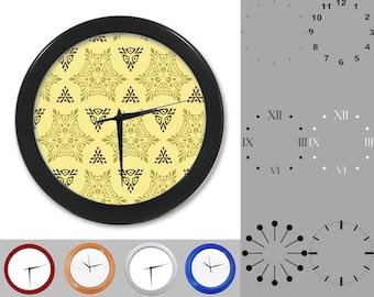Kaleidoscope Wall Clock, Triangle Floral Design, Tan Artistic, Customizable Clock, Round Wall Clock, Your Choice Clock Face or Clock Dial