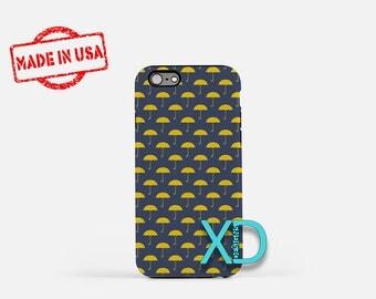 Umbrella Phone Case, Umbrella iPhone Case, Stormy iPhone 7 Case, Blue, Yellow, Stormy iPhone 6 Case, Umbrella Tough Case, Clear Case, Rainy