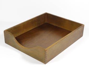 Wood File Organizer Tray, Vintage Midcentury Wood Office Tray, Vintage  Office