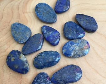 Lot of 12 Blue Lapis Lazuli Beads- 30mm x 20mm