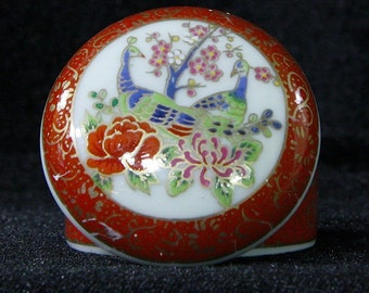 Asian Orange and Gold Painted Memory Trinket Box