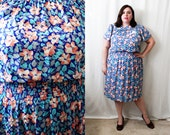 Plus Size - Vintage Floral Silk Satin Jacquard Dress (Size 12/14)