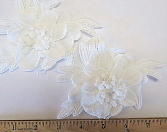Set of 2 White Embroidered 3-D Flowers, Sew on (J-V)