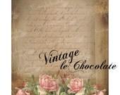 Digital Shabby Collage, Digital Scrapbook Paper, Romantic Rose Printable Paper, Digital Paper, Vintage Collage Scrapbook Paper. No. 699