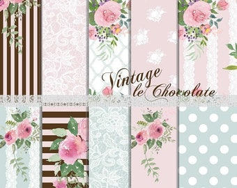 ON SALE Digital Scrapbook Paper, Floral Digital Pink Rose and Lace Paper, Pink Rose Paper, Watercolor Floral Paper. No. P189