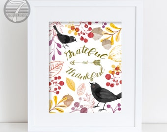 Thanksgiving Fall Wall Art Print, Grateful and Thankful, Fall Leaves Black Birds, Watercolor Art Holiday Decor, 5x7, 8x10 or 11x14 Unframed