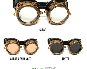 GloFX Copper Bolt Diffraction Glasses Aviator Goggles Classic Vintage Style Hard Coated Copper Adjustable Elastic Band