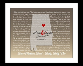 Any Or alabama wedding gift for couple, her, anniversary gift, song lyric art prints, alabama print, alabama map decor, anniversary gift
