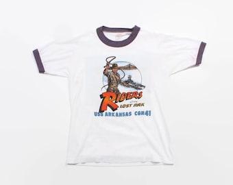 Vintage 80s USN Indiana Jones TSHIRT / 1980s US Navy Guided Missile Cruiser Ringer Tee Shirt