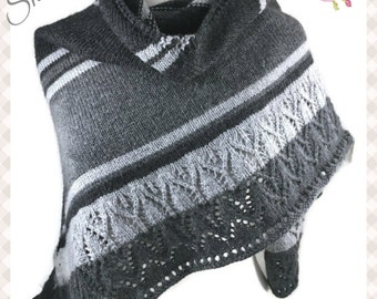 Shades of Gray Shawl Wool Blend Triangle lace Wrap Berroco Vintange Yarn