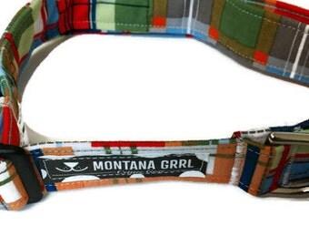 Madrias Plaid Pet Collar, green plaid collar, blue plaid collar, red plaid collar, boy dog collar, puppy collar