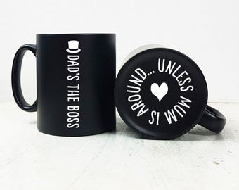 Personalised Engraved Dads The Boss Mug/Personalised Mug/Fathers Day Gift/Hidden Message/Gift for Dad/Gift for Grandad/Amazing Gift for Dad