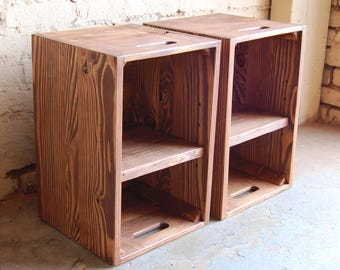 Wooden Crates/ Nightstand/ Pair of Side Tables/ Reclaim Wood/ English Chestnut