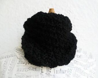 Wool Alpaca Cowl - Women Wool Hand Knit Scarf Cowl - Men Wool Knit Cowl - Hand Knitted Super Chunky Black Cowl - ClickClackKnits