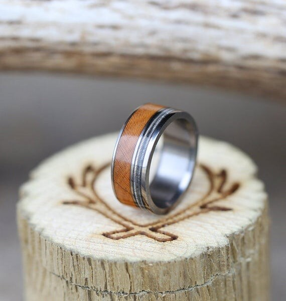 Guitar String Redwood Wedding Band Staghead Designs