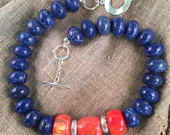 Lapis and Weathered Coral Necklace,  Chunky Lapis and Coral Necklace, Dramatic Blue Lapis Necklace with Weathered Coral Center beads,