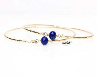 Floating Lapis Lazuli Bangle / Sterling Silver or 14k Rose Gold Fill Blue Lapis Bracelet / September Birthstone Gift / Libra Mothers Jewelry