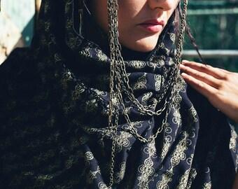 Crystal printed scarf-Chiffon scarf- Gold crystal printed scarf