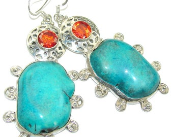 Turquoise, Red Quartz Sterling Silver Earrings - weight 35.00g - dim L -3, W -1 1 4, T -3 8 inch - code 8-mar-16-35