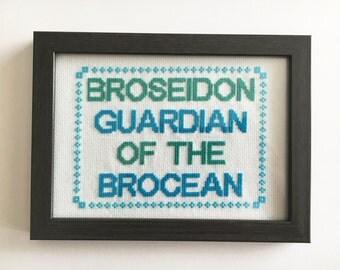 Broseidon, guardian of the brocean framed cross stitch