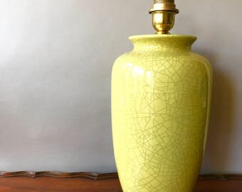 vintage pottery table lamp ginger jar lamp yellow mustard color - Ginger Jar Lamps
