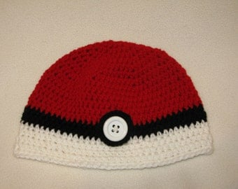 Pokeball Hat crochet beanie - Fits large child to ADULT