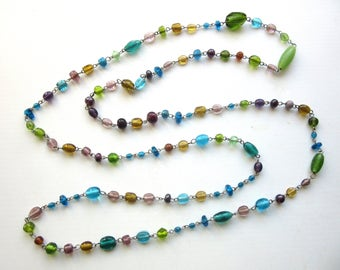 Extra Long Necklace Venetian Murano Glass Beads 54 Inches Single Strand Vibrant Jewel Colors