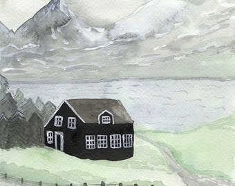 Iceland - Archival watercolor art print