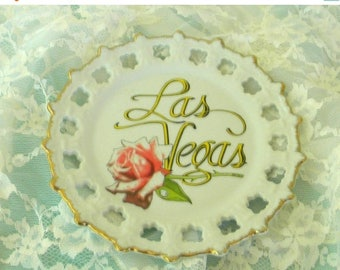 May Sale Las Vegas Souvenir Rose Plate, 1960s, Vintage Item, Reticulated, Made in Korea, Mid Century, Kitsch, Retro