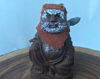 Free shipping!! Ewok Buddha character, solid resin figure with leather headdress and staff. Wicket