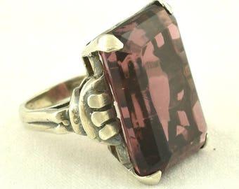 1940s Huge Heavy Vintage Sterling Ring Large Purple / Raspberry Glass ~ 1366