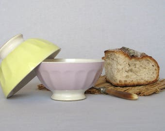 Very Attractive DUO of Vintage French Cafe au lait Bowls, excellent condition