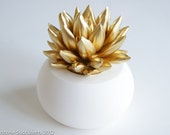 Gold Succulent Sculpture with White Planter, Desktop Office Accessories, Modern Minimalist Home Office Decor