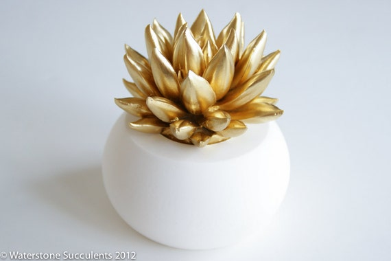 Succulent Sculpture with Interchangeable Container, Tabletop, Desktop Accessory, Modern Minimalist Home and Office Decor