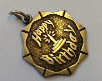 Sterling Silver Vintage Happy Birthday Hallmarked Charm Bracelet Charm