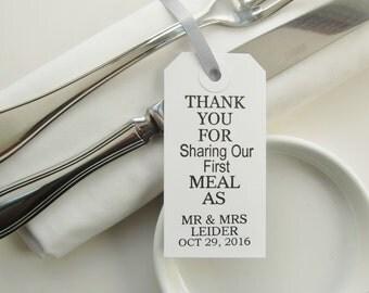 80 Wedding Napkin Ties-Wedding Table Decor-Thank You for Sharing-Elegant WhiteTags-Unique Wedding Favors-Wedding Reception-Wedding Table