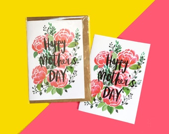 Happy Mother's Day, Mother's Day illustrated Greeting Card, Watercolour peonies
