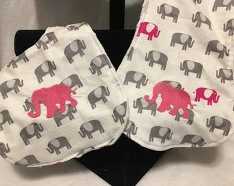 Ready to Ship! Embroidered Elephant Bib & Burp Rag Set