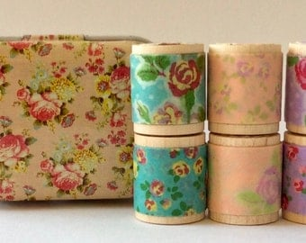 """Designer Washi Tape """"Itty Bitty Shabby Chicy"""" in Collectible Peach Rose Tin. Set of Six 1 yard tiny spools Featuring Tape from Colte Japan."""