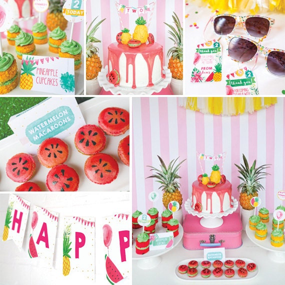 Tropical Party Decorations - Pineapple Party - Summer Party Decorations -  Instant Download and Edit File at home with Adobe Reader